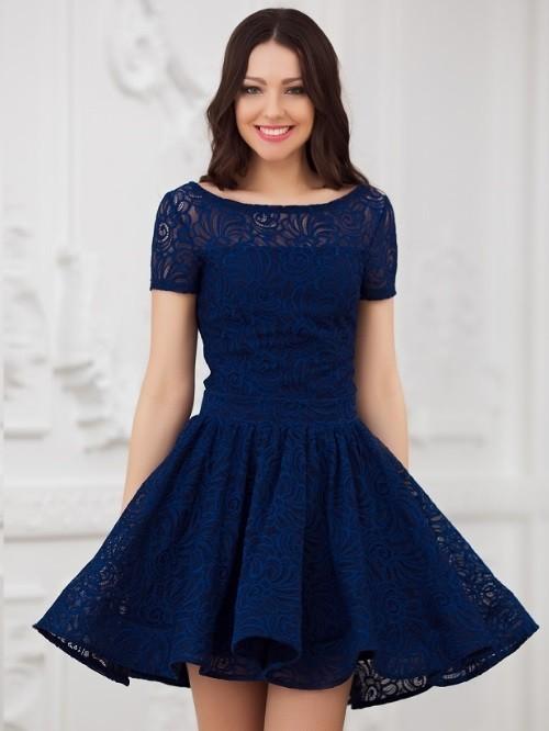 Купить к ружевное платье с пышной юбкой солнце eva 5231т-синее в ... 31563ee02127f